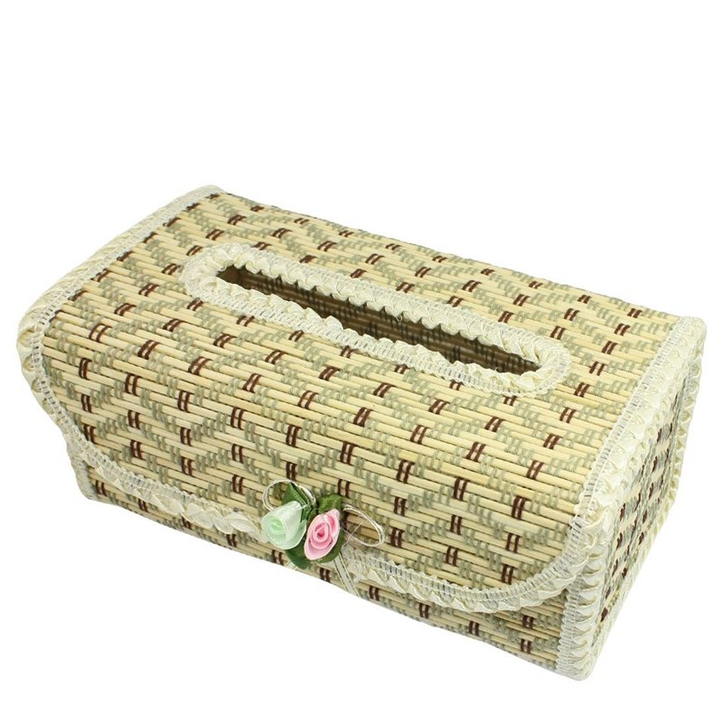 Zigzag Pattern Flower Decor Bamboo Handmade Tissue Box Cover Holder J1A2