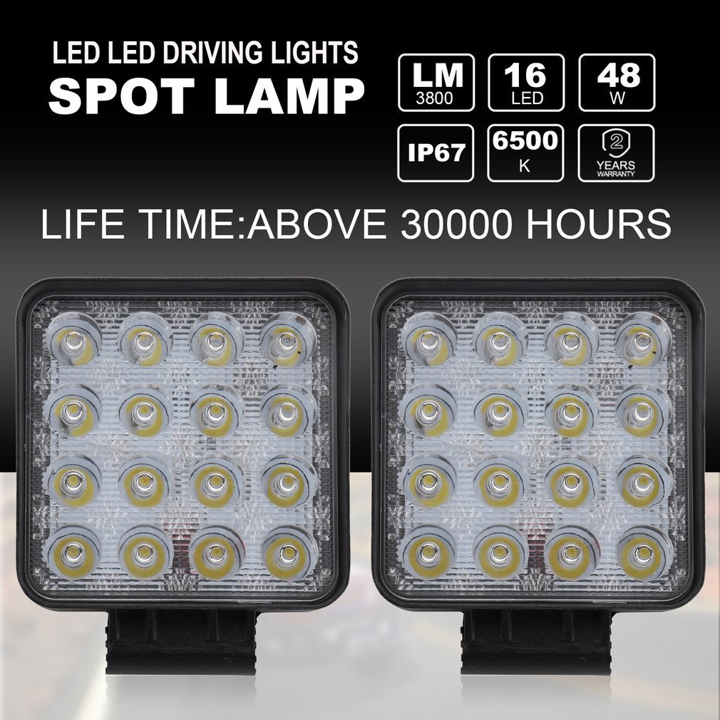 2x 48W Arbeitsscheinwerfer 16 LED 12V 24V Offroad Scheinwerfer für Jeep SUV FR
